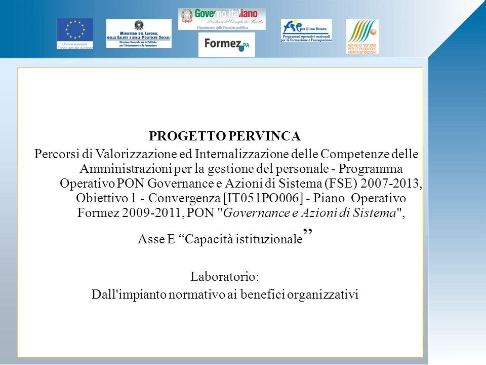 PROGETTO PERVINCA Percorsi di Valorizzazione ed Internalizzazione delle Competenze delle Amministrazioni per la gestione del personale - Programma Ope