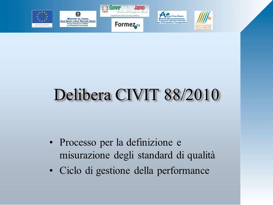 Delibera CIVIT 88/2010 Processo per la definizione e misurazione degli standard di qualità Ciclo di gestione della performance