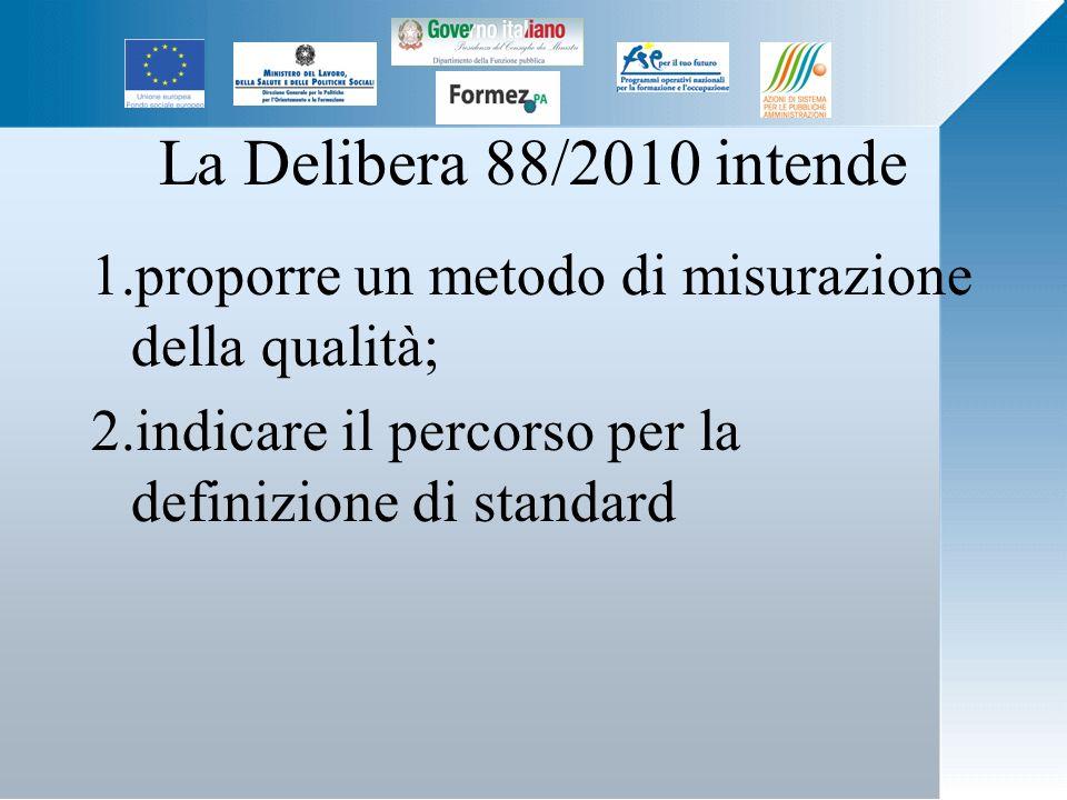 La Delibera 88/2010 intende 1.proporre un metodo di misurazione della qualità; 2.indicare il percorso per la definizione di standard
