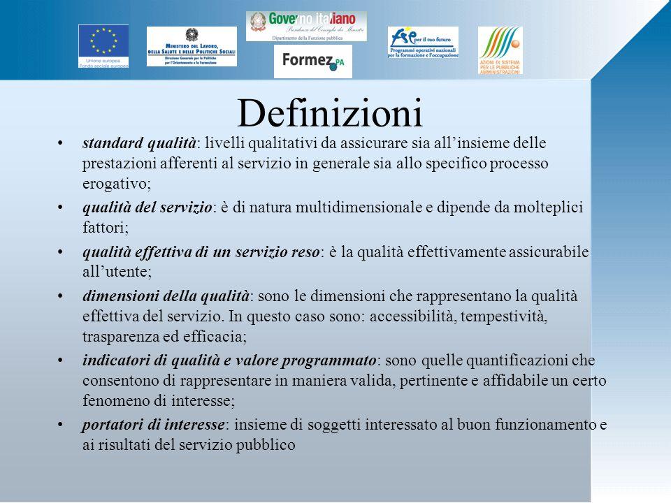 Definizioni standard qualità: livelli qualitativi da assicurare sia allinsieme delle prestazioni afferenti al servizio in generale sia allo specifico