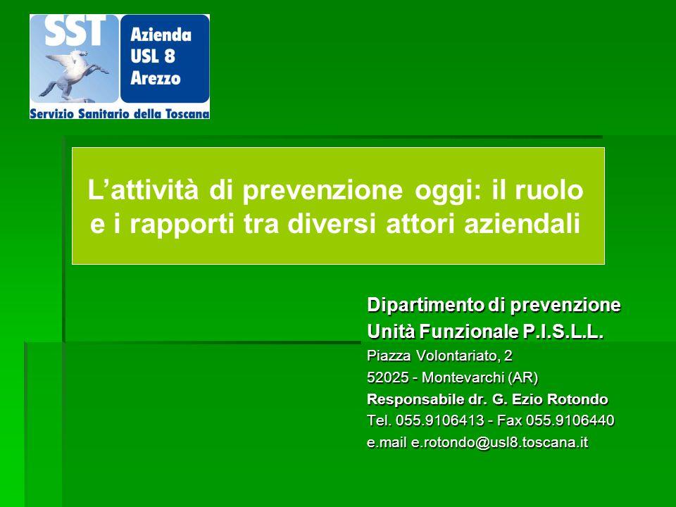 Dipartimento di prevenzione Unità Funzionale P.I.S.L.L. Piazza Volontariato, 2 52025 - Montevarchi (AR) Responsabile dr. G. Ezio Rotondo Tel. 055.9106