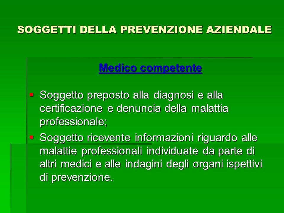 SOGGETTI DELLA PREVENZIONE AZIENDALE Medico competente Soggetto preposto alla diagnosi e alla certificazione e denuncia della malattia professionale;