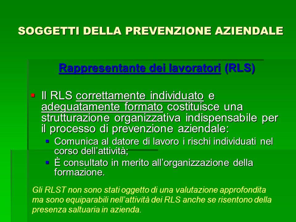 SOGGETTI DELLA PREVENZIONE AZIENDALE Rappresentante dei lavoratori (RLS) Il RLS correttamente individuato e adeguatamente formato costituisce una stru