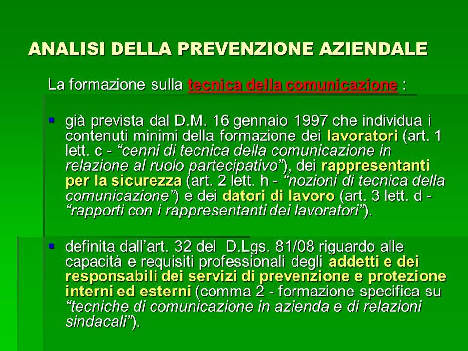 ANALISI DELLA PREVENZIONE AZIENDALE La formazione sulla tecnica della comunicazione : già prevista dal D.M. 16 gennaio 1997 che individua i contenuti