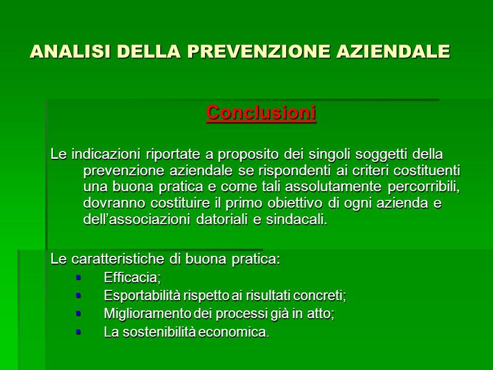 ANALISI DELLA PREVENZIONE AZIENDALE Conclusioni Le indicazioni riportate a proposito dei singoli soggetti della prevenzione aziendale se rispondenti a
