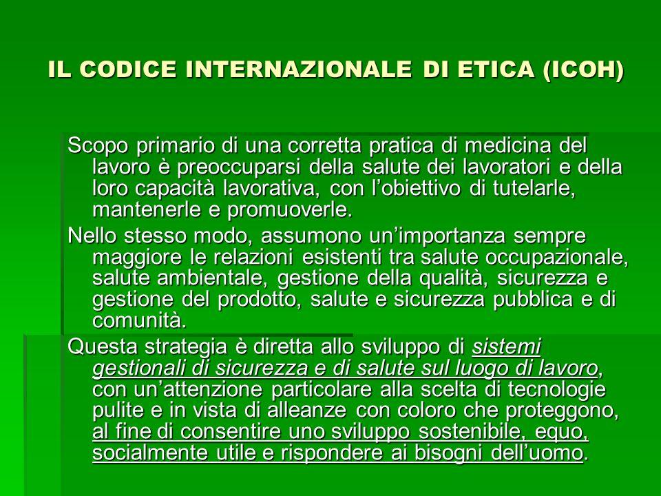 IL CODICE INTERNAZIONALE DI ETICA (ICOH) Scopo primario di una corretta pratica di medicina del lavoro è preoccuparsi della salute dei lavoratori e de