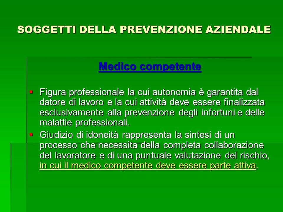 SOGGETTI DELLA PREVENZIONE AZIENDALE Medico competente Figura professionale la cui autonomia è garantita dal datore di lavoro e la cui attività deve e