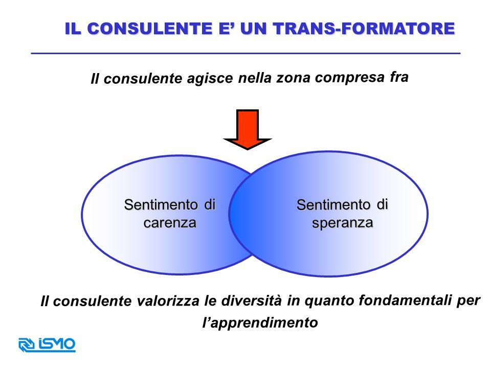 Il consulente agisce nella zona compresa fra Sentimento di speranza Sentimento di carenza Il consulente valorizza le diversità in quanto fondamentali