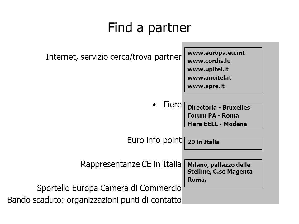 Find a partner Internet, servizio cerca/trova partner Fiere Euro info point Rappresentanze CE in Italia Sportello Europa Camera di Commercio Bando sca