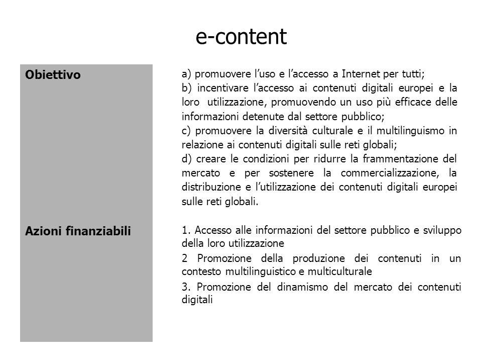 e-content Obiettivo Azioni finanziabili 1. Accesso alle informazioni del settore pubblico e sviluppo della loro utilizzazione 2 Promozione della produ