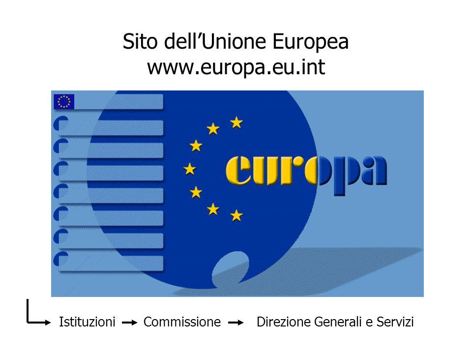 Sito dellUnione Europea www.europa.eu.int Istituzioni Commissione Direzione Generali e Servizi