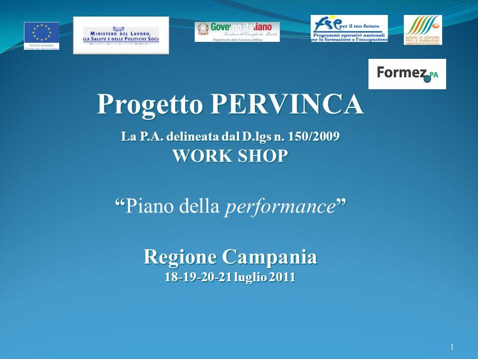 1 Progetto PERVINCA La P.A.delineata dal D.lgs n.