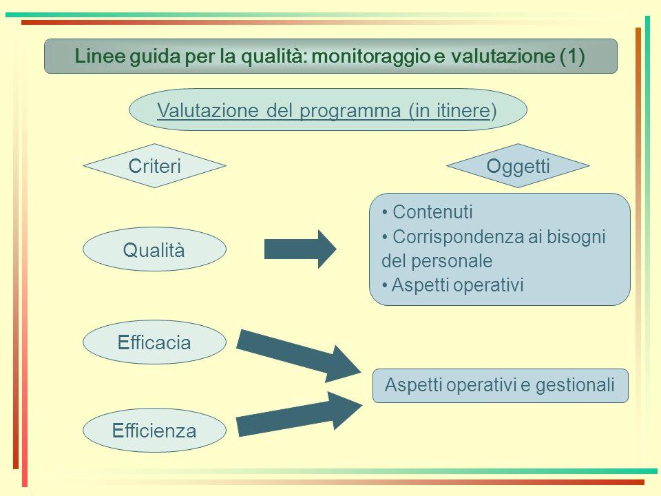 Linee guida per la qualità: monitoraggio e valutazione (1) Valutazione del programma (in itinere) CriteriOggetti Qualità Efficacia Efficienza Contenut
