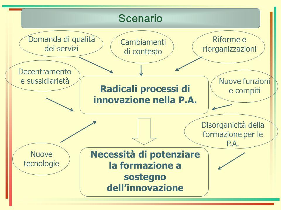 Scenario Radicali processi di innovazione nella P.A. Cambiamenti di contesto Disorganicità della formazione per le P.A. Domanda di qualità dei servizi