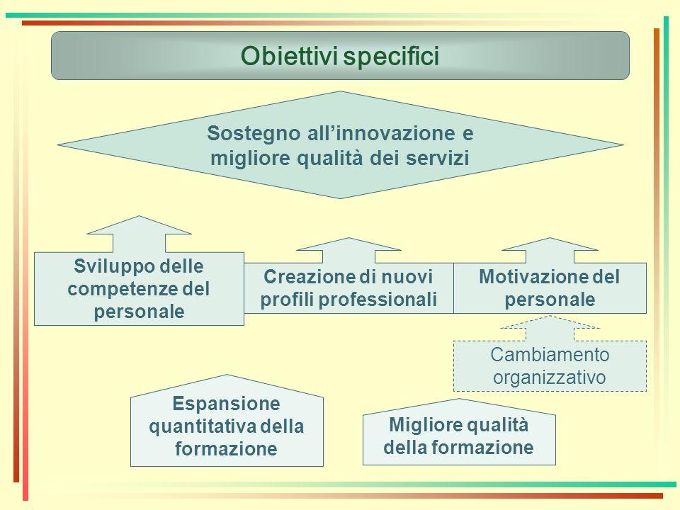 Obiettivi specifici Sostegno allinnovazione e migliore qualità dei servizi Sviluppo delle competenze del personale Creazione di nuovi profili professi