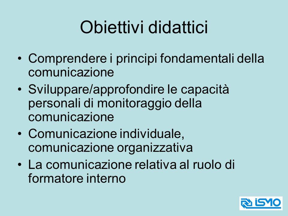 Obiettivi didattici Comprendere i principi fondamentali della comunicazione Sviluppare/approfondire le capacità personali di monitoraggio della comuni