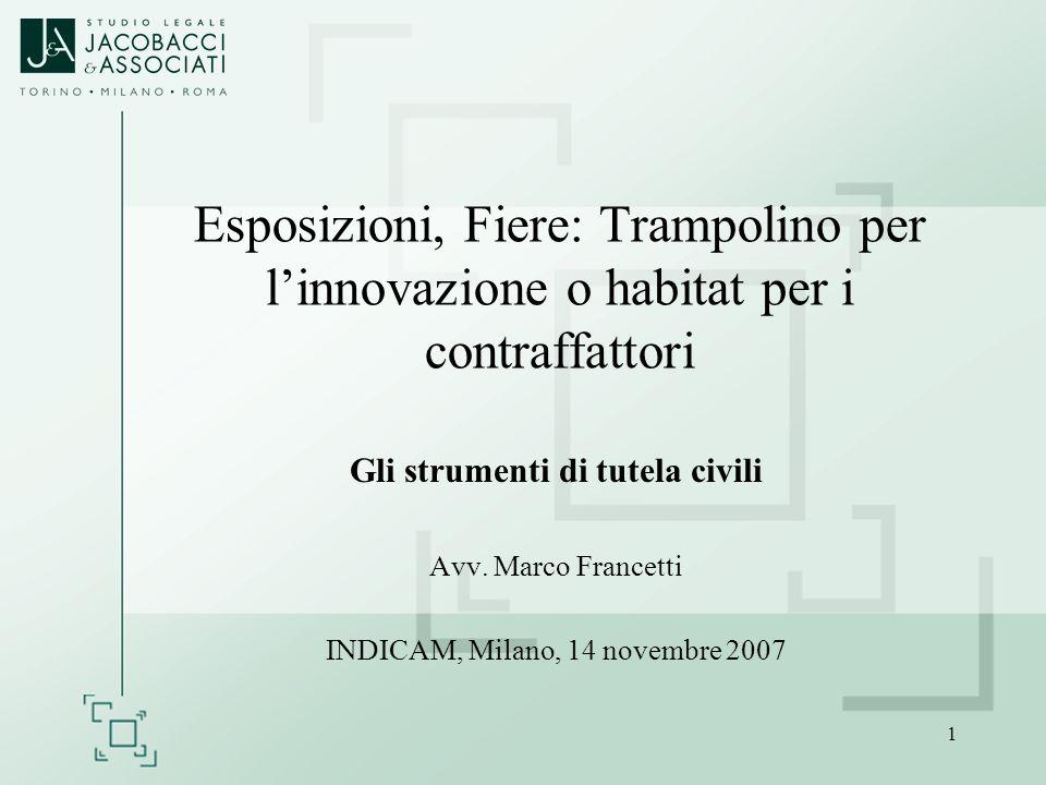 1 Esposizioni, Fiere: Trampolino per linnovazione o habitat per i contraffattori Gli strumenti di tutela civili Avv. Marco Francetti INDICAM, Milano,