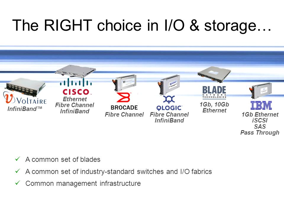 19IBM Systems and Technology Group Ethernet Fibre Channel InfiniBand InfiniBand Fibre Channel InfiniBand 1Gb Ethernet iSCSI SAS Pass Through Fibre Channel 1Gb, 10Gb Ethernet The RIGHT choice in I/O & storage… A common set of blades A common set of industry-standard switches and I/O fabrics Common management infrastructure