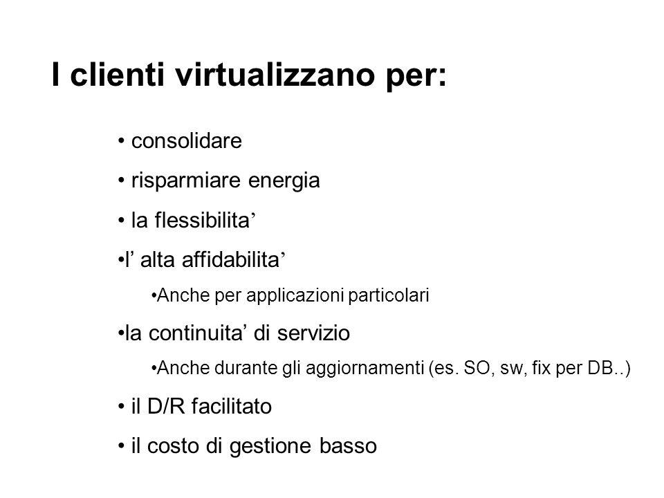 I clienti virtualizzano per: consolidare risparmiare energia la flessibilita l alta affidabilita Anche per applicazioni particolari la continuita di servizio Anche durante gli aggiornamenti (es.
