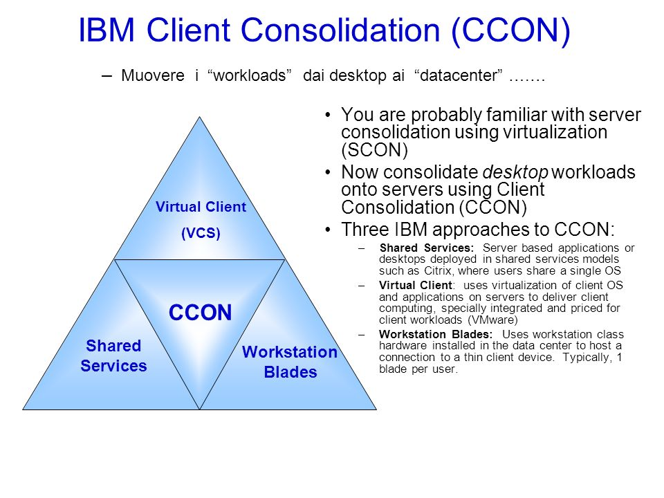 IBM Client Consolidation (CCON) – Muovere i workloads dai desktop ai datacenter ….… You are probably familiar with server consolidation using virtualization (SCON) Now consolidate desktop workloads onto servers using Client Consolidation (CCON) Three IBM approaches to CCON: –Shared Services: Server based applications or desktops deployed in shared services models such as Citrix, where users share a single OS –Virtual Client: uses virtualization of client OS and applications on servers to deliver client computing, specially integrated and priced for client workloads (VMware) –Workstation Blades: Uses workstation class hardware installed in the data center to host a connection to a thin client device.