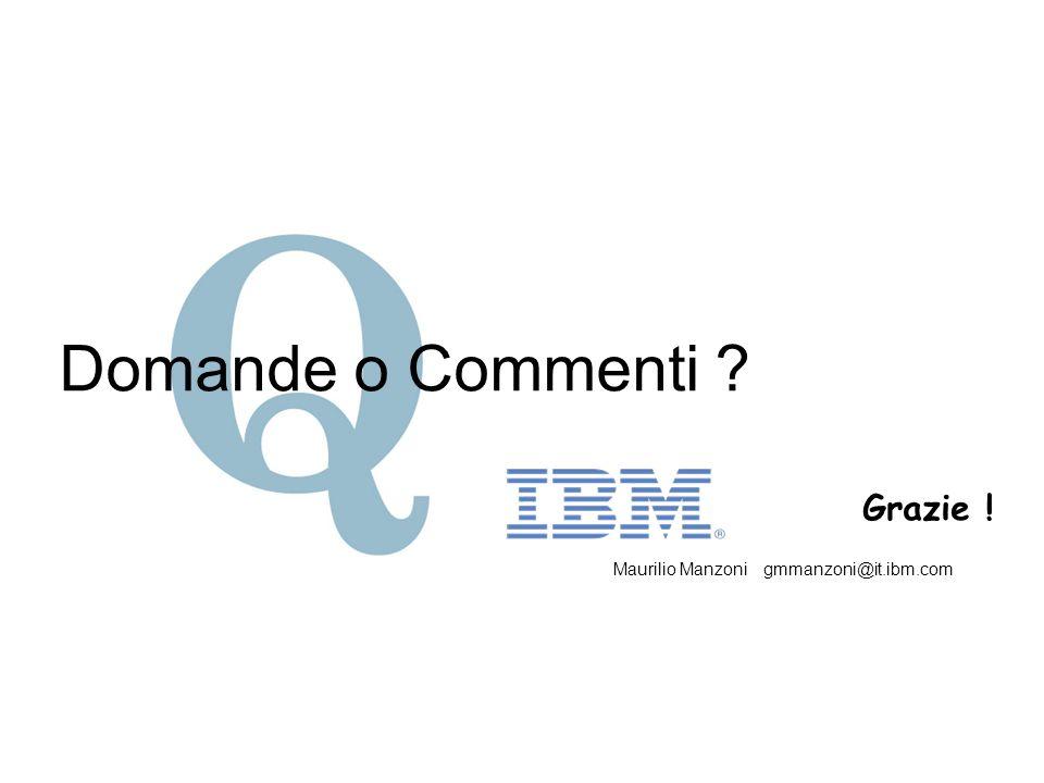 Domande o Commenti ? Grazie ! Maurilio Manzoni gmmanzoni@it.ibm.com