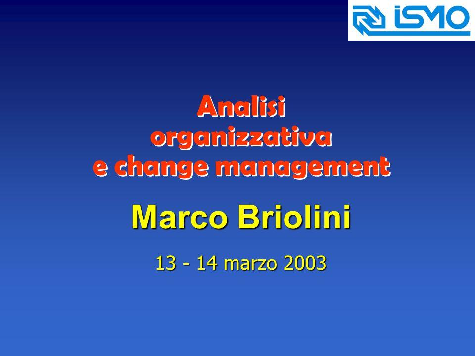 Analisi organizzativa e change management Marco Briolini 13 - 14 marzo 2003