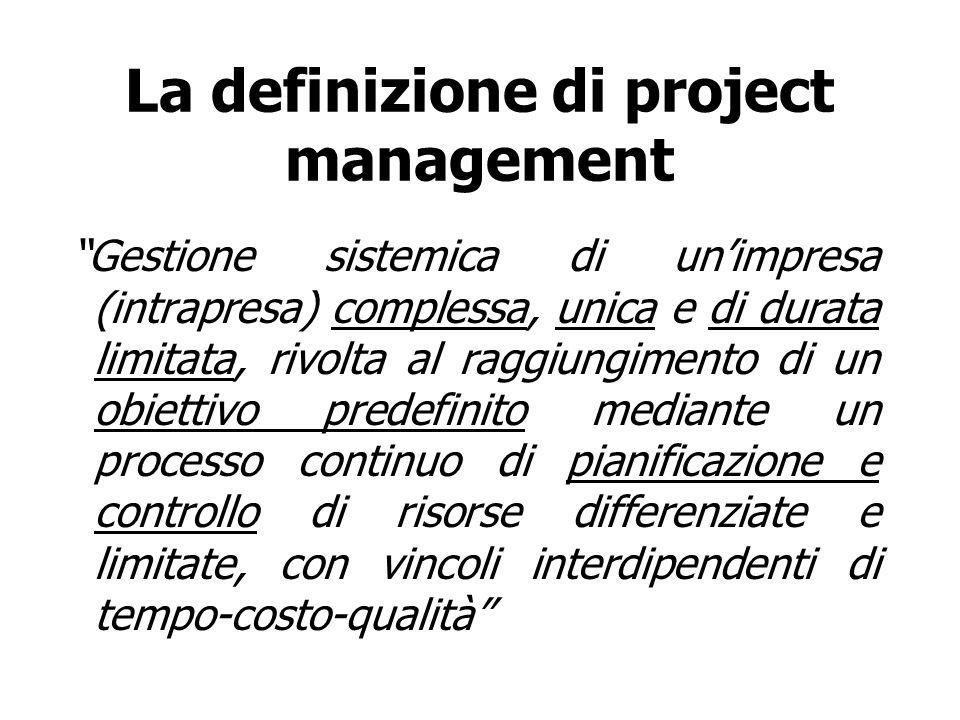 La definizione di project management Gestione sistemica di unimpresa (intrapresa) complessa, unica e di durata limitata, rivolta al raggiungimento di