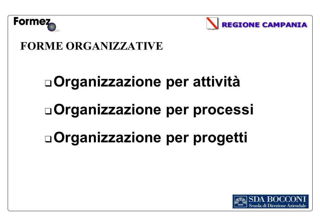 FORME ORGANIZZATIVE Organizzazione per attività Organizzazione per processi Organizzazione per progetti