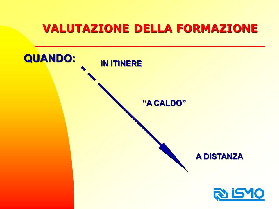 VALUTAZIONE DELLA FORMAZIONE A DISTANZA QUANDO: A CALDO IN ITINERE