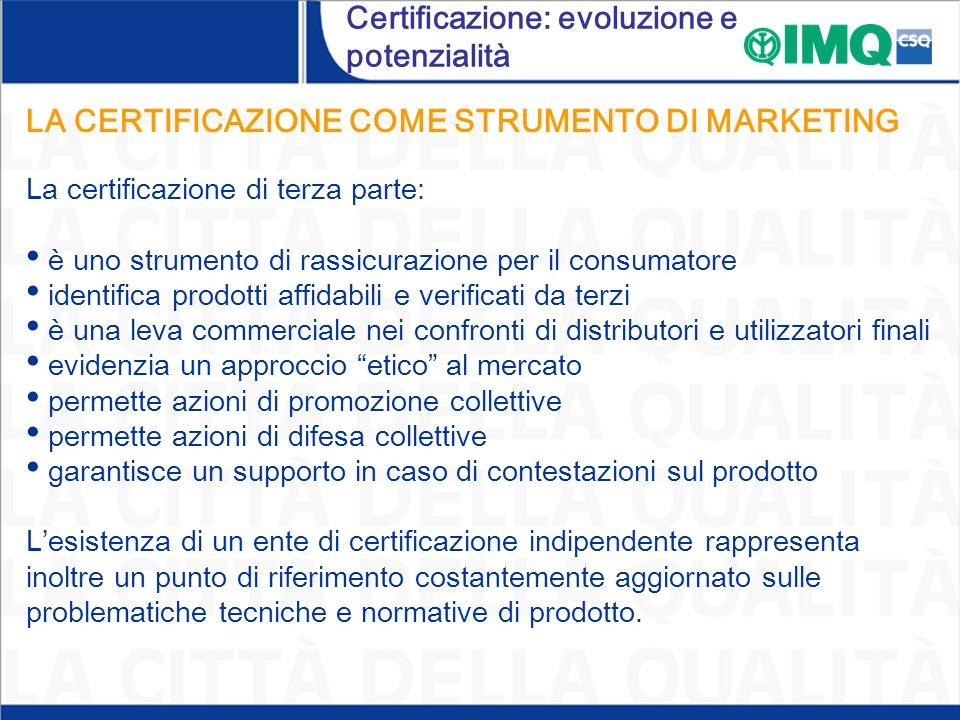 LA CERTIFICAZIONE COME STRUMENTO DI MARKETING La certificazione di terza parte: è uno strumento di rassicurazione per il consumatore identifica prodot