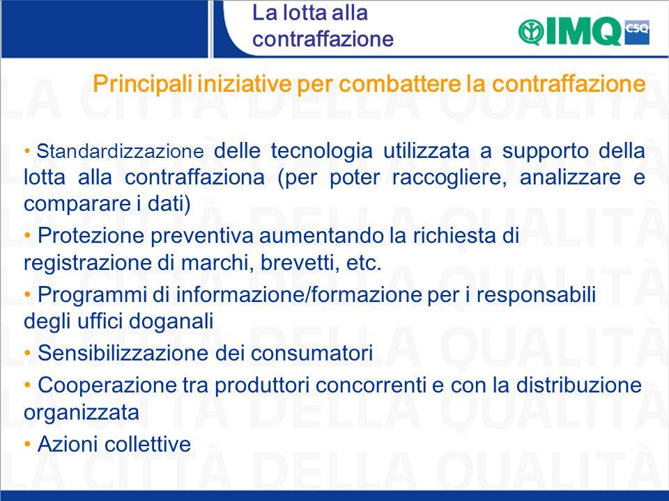 La lotta alla contraffazione Principali iniziative per combattere la contraffazione Standardizzazione delle tecnologia utilizzata a supporto della lot