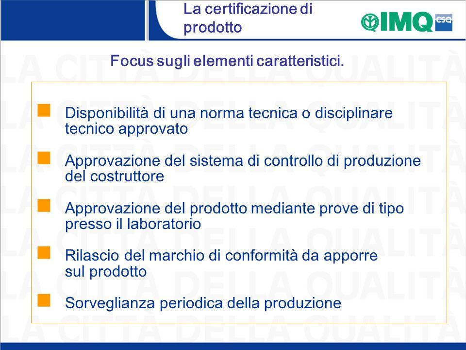 Focus sugli elementi caratteristici. Disponibilità di una norma tecnica o disciplinare tecnico approvato Approvazione del sistema di controllo di prod