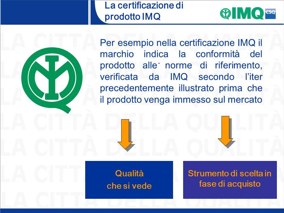 La certificazione di prodotto IMQ. Strumento di scelta in fase di acquisto Qualità che si vede Per esempio nella certificazione IMQ il marchio indica