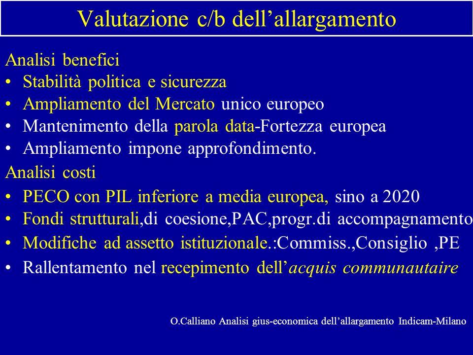 Valutazione c/b dellallargamento Analisi benefici Stabilità politica e sicurezza Ampliamento del Mercato unico europeo Mantenimento della parola data-Fortezza europea Ampliamento impone approfondimento.