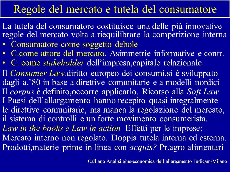 Regole del mercato e tutela del consumatore La tutela del consumatore costituisce una delle più innovative regole del mercato volta a riequilibrare la competizione interna Consumatore come soggetto debole C.come attore del mercato.