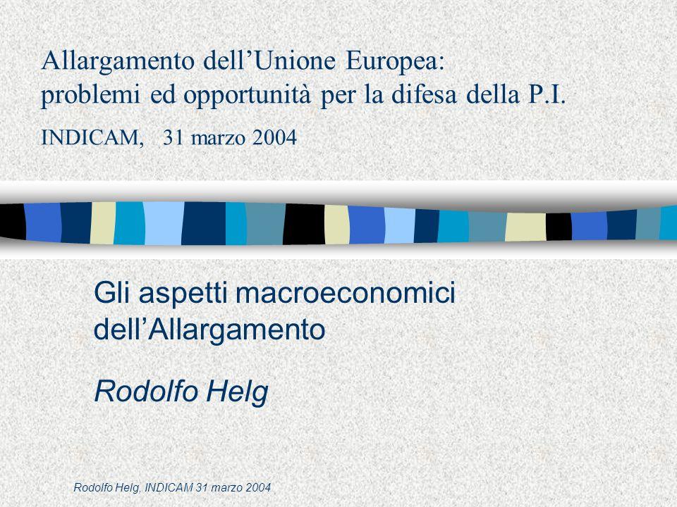 Rodolfo Helg, INDICAM 31 marzo 2004 Allargamento dellUnione Europea: problemi ed opportunità per la difesa della P.I.