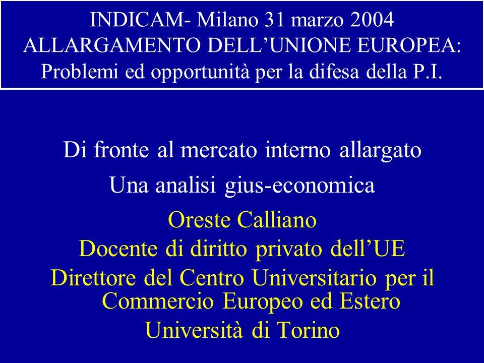 INDICAM- Milano 31 marzo 2004 ALLARGAMENTO DELLUNIONE EUROPEA: Problemi ed opportunità per la difesa della P.I.