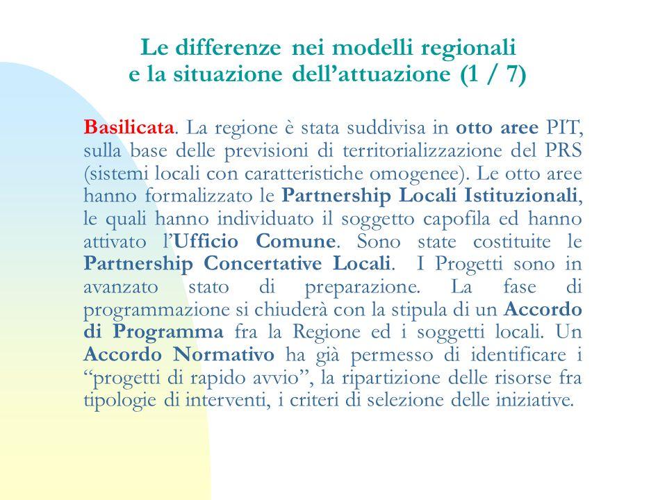 Basilicata. La regione è stata suddivisa in otto aree PIT, sulla base delle previsioni di territorializzazione del PRS (sistemi locali con caratterist