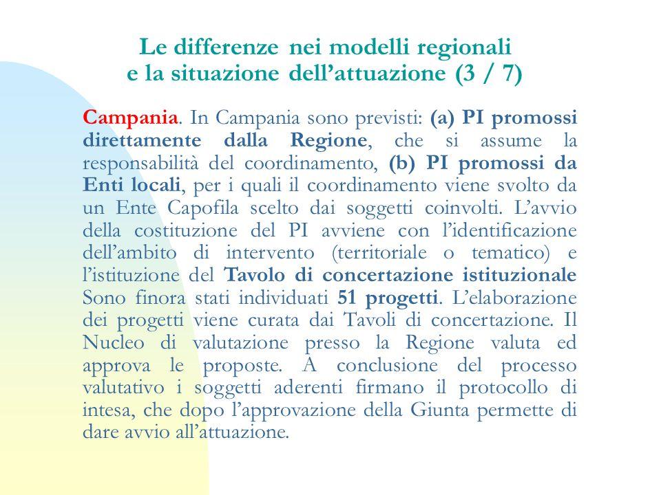 Campania. In Campania sono previsti: (a) PI promossi direttamente dalla Regione, che si assume la responsabilità del coordinamento, (b) PI promossi da