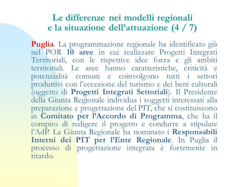Puglia. La programmazione regionale ha identificato già nel POR 10 aree in cui realizzare Progetti Integrati Territoriali, con le rispettive idee forz