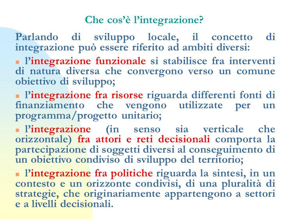 Che cosè lintegrazione? Parlando di sviluppo locale, il concetto di integrazione può essere riferito ad ambiti diversi: n lintegrazione funzionale si
