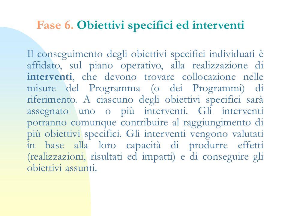 Il conseguimento degli obiettivi specifici individuati è affidato, sul piano operativo, alla realizzazione di interventi, che devono trovare collocazi