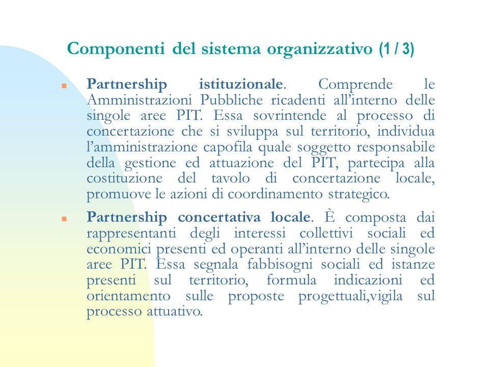 Componenti del sistema organizzativo (1 / 3) n Partnership istituzionale. Comprende le Amministrazioni Pubbliche ricadenti allinterno delle singole ar
