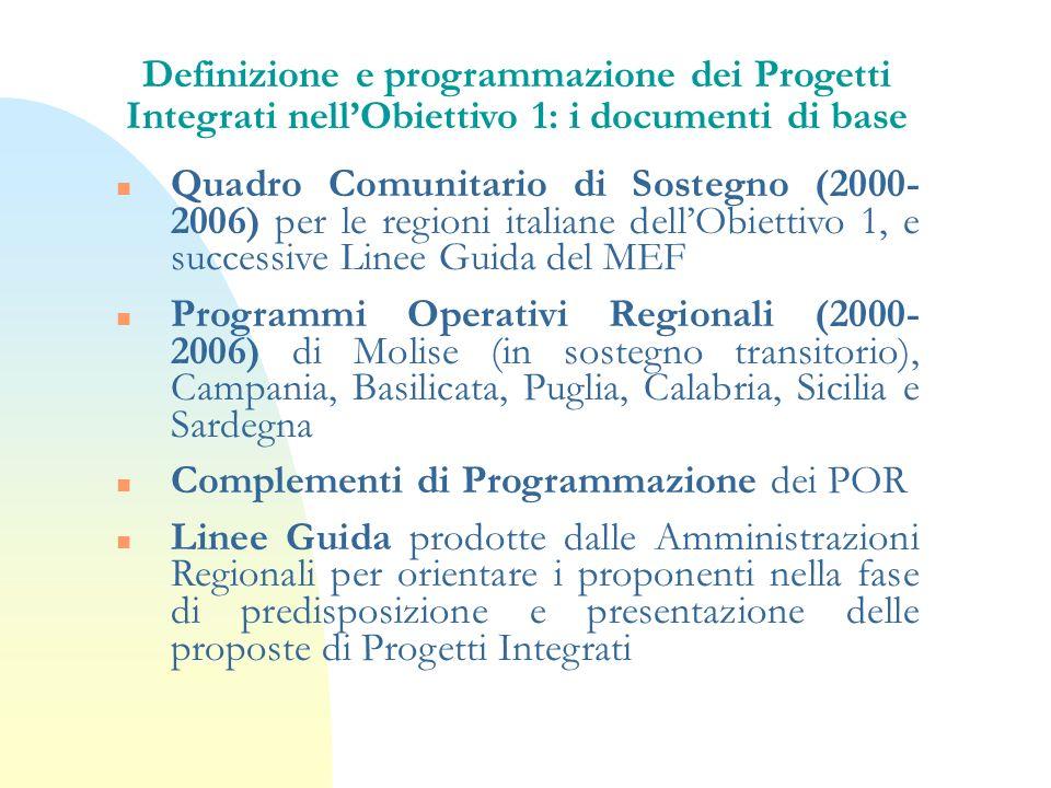 Definizione e programmazione dei Progetti Integrati nellObiettivo 1: i documenti di base n Quadro Comunitario di Sostegno (2000- 2006) per le regioni