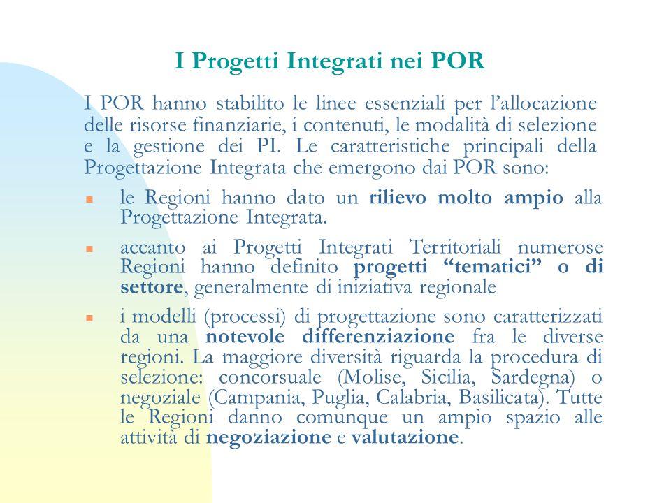 I Progetti Integrati nei POR I POR hanno stabilito le linee essenziali per lallocazione delle risorse finanziarie, i contenuti, le modalità di selezio