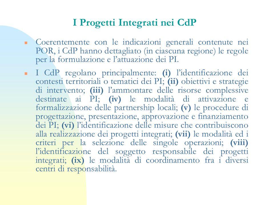 I Progetti Integrati nei CdP n Coerentemente con le indicazioni generali contenute nei POR, i CdP hanno dettagliato (in ciascuna regione) le regole pe