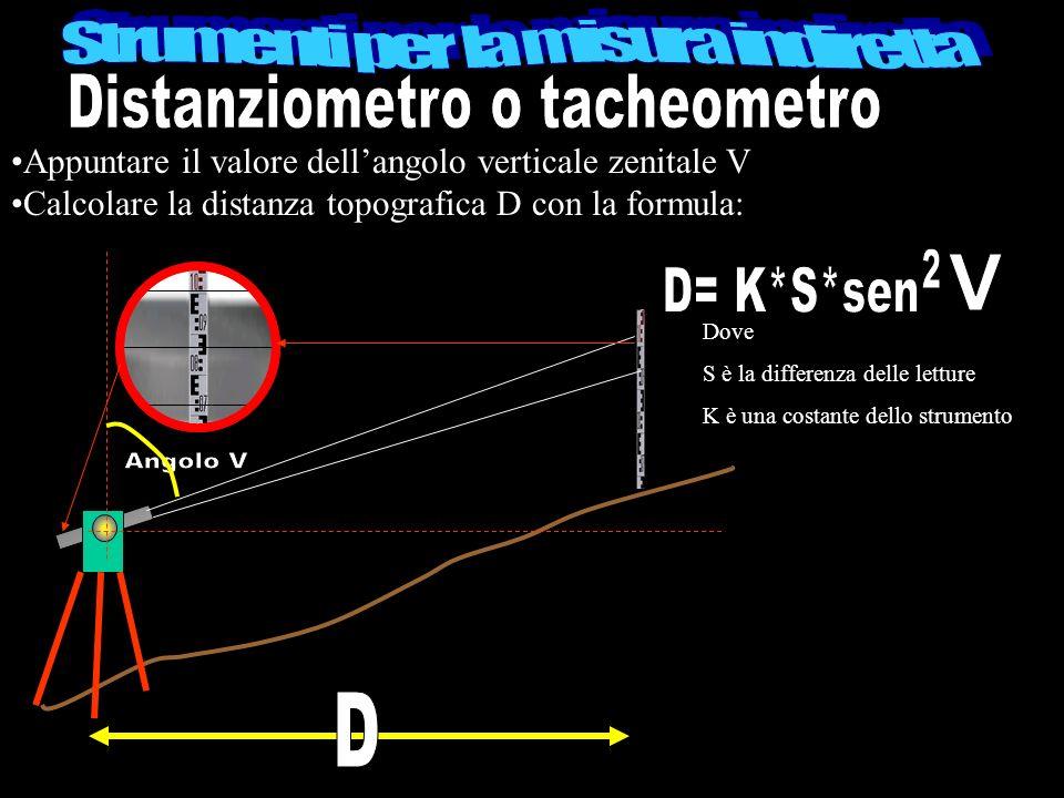 Appuntare il valore dellangolo verticale zenitale V Calcolare la distanza topografica D con la formula: Dove S è la differenza delle letture K è una c