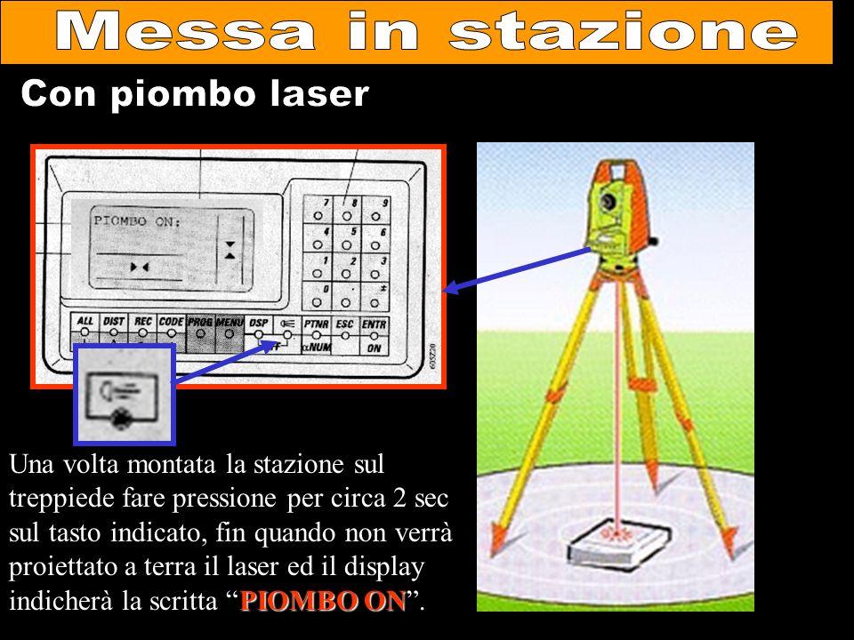 PIOMBO ON Una volta montata la stazione sul treppiede fare pressione per circa 2 sec sul tasto indicato, fin quando non verrà proiettato a terra il la