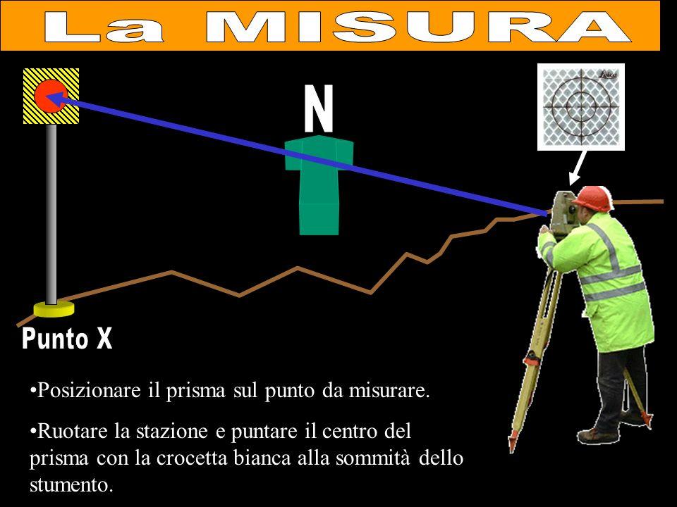 Posizionare il prisma sul punto da misurare. Ruotare la stazione e puntare il centro del prisma con la crocetta bianca alla sommità dello stumento.