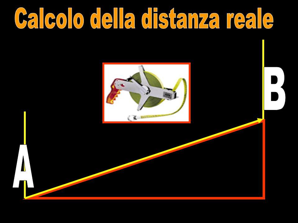 coltellazione La distanza topografica è la distanza fra due punti proiettata su un piano di orizzontale.